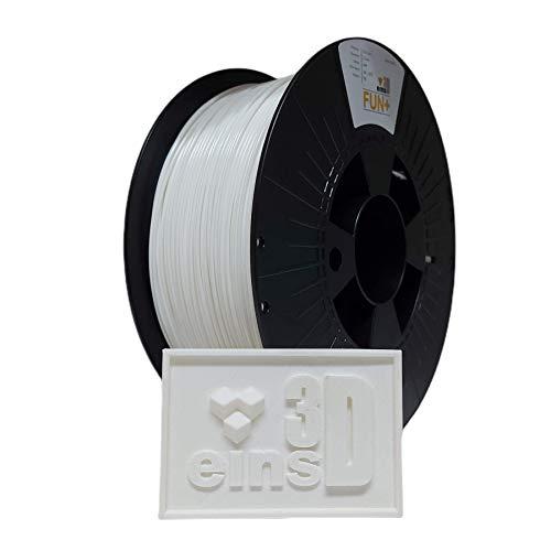 PLA Fun+ eins3D, Filament für den 3D Druck, 1.75mm Durchmesser, 1kg Rolle, EU Ware - WEIß (weiß)