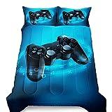 Gamepad Comforter Set Kids Boys Gamer Bedding Set Video Game Gamepad Bed for Teens Children Modern Game Controller Duvet Set Blue Black Bedroom Decor Quilt Set Twin Size