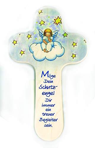 Holzkreuz für Kinder 20x12 cm Motiv: Engel auf Wolke