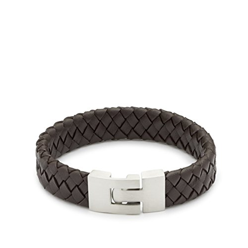 Leonardo Jewels Damen Herren Armband Men Facile due Edelstahl Leder 22 cm   015304