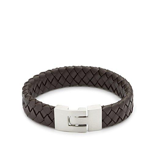 Leonardo Jewels Damen Herren Armband Men Facile due Edelstahl Leder 22 cm 015304