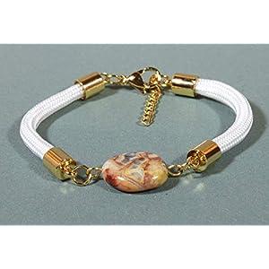 Laguna Lace Agate White Paracord Bracelet, Adjustable