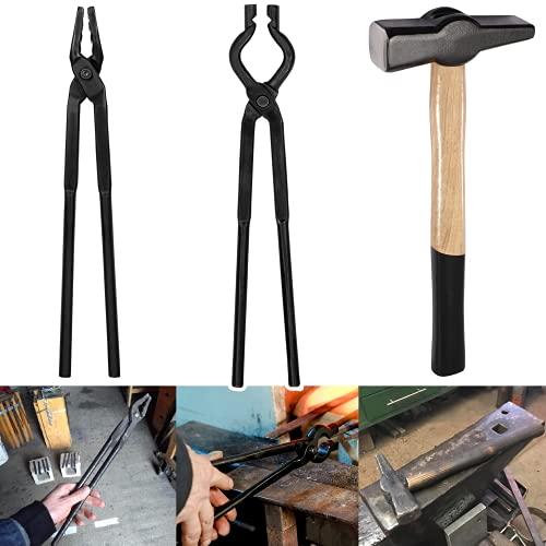 Blacksmith Tongs and Hammer Tool Set for Bladesmith Blacksmith Starters -- Medium Wolf Jaw tongs V-Bit...