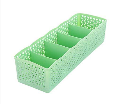iMyoung - Cesto portaoggetti a 5 Scomparti, per Donne e Uomini, per Calzini e Biancheria Intima, in plastica, per cassetti e Trucchi, Green, Verde