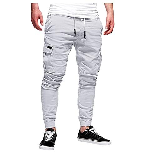 XIAOMEIO Pantalones cargo para hombre de Lässig, de un solo color, con cordón ajustable, multibolsillos, estrechos, elásticos, largos, cargo, trabajo, tiempo libre, tallas M-4XL, gris, M