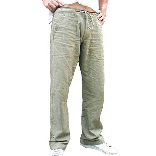 Yowablo Hosen Männer Spleißen Printed Overalls Casual Pocket Sport Work Freizeithose (M,1Grün)