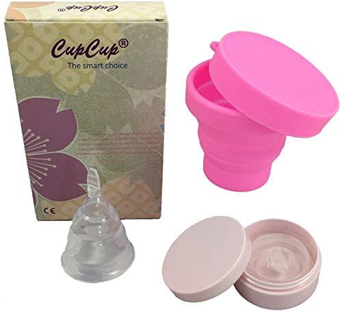Copa menstrual plegable patentado y certificado por la CE. Suave/blando. Con el esterilizador plegable que actúa como caja de transporte. Transparente «talla única» de silicona médica hipo alergénica