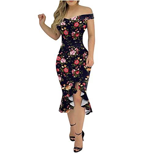 Sommerkleid Damen Eng Kleid Bodycon Kurz Kleider Sexy Spitze Blumendruckkleid Minikleid Kurzarm Frauen Elegantes Slim Bleistiftkleid Aushöhlen Cocktailkleid Partykleider Figurbetontes Abendkleider