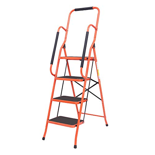 LUISLADDERS 4 Step Ladder Safety Tool Ladder Folding Anti-Slip Step Stool Ladder Padded Side Handrails with Large Area Pedals for Kitchen Home and Office 330lbs (4 Step)
