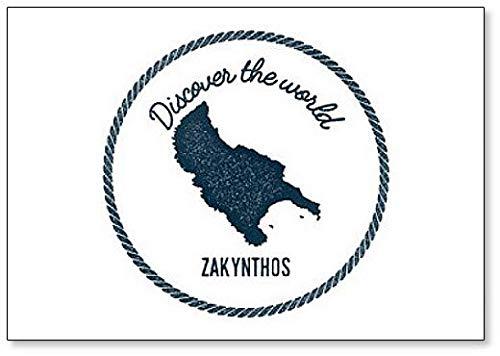 Ontdek Zakynthos Island Map, Illustratie Classic Koelkast Magneet