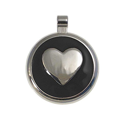 LuckyPet Heart Jewelry Pet ID Tag for Cats and Dogs, Personalized Engraving on The Back Side, Small Black Heart