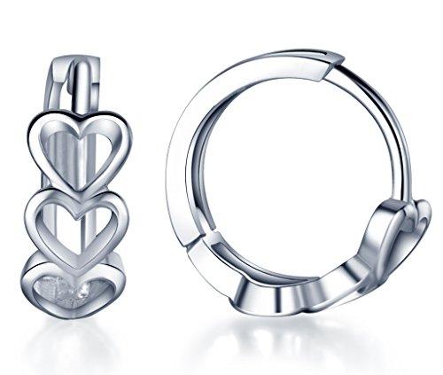 Infinite U Huggie Earrings 925 Sterling Silver Small Hoop Cartilage Hollow Heart Cluster for Women, 0.5''