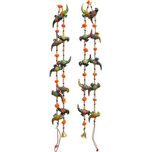 Traditional Indian Door Decorative Hanging Cotton String Parrot Ornaments with Bells (Set of 2)