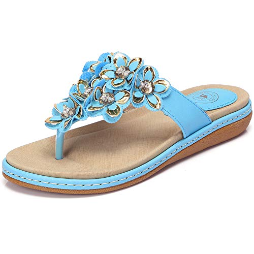 CAMEL CROWN Women's Bohemia Beach Summer Flat Sandals T-Strap Beaded Dress Thong Flip Flops Comfortable Slip On Casual Shoes Turquoise