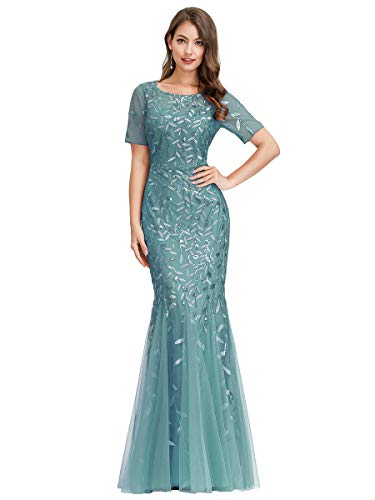 Ever-Pretty Womens Floral Lace Sweetheart Illusion Wedding Party Maxi Dress Blue US18