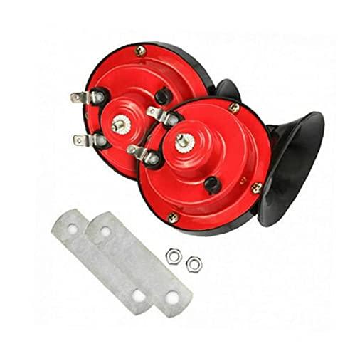 Caracol Cuerno de Aire de Tren Cuerno Kit de Motocicleta eléctrica de Hornos 24V 300DB Muy Ruidoso Cuernos de Camiones Coches Motos Barcos Negro Rojo 2 Piezas