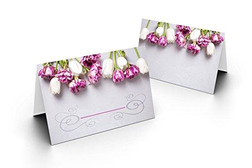 Karten24Plus 100 tafelkaarten (wit/lila tulpen, grijze achtergrond) UV-lak glanzend - voor bruiloft, verjaardag, jubileum als liefdevolle tafeldecoratie. Formaat 8,5 x 11,2 cm