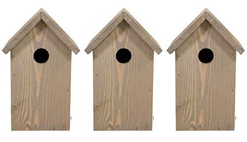 mgc24 Nistkasten - wetterfeste Nisthilfe aus Holz für heimische Wildvögel, 15,5 x 14 x 25 cm, braun, 3 Stück