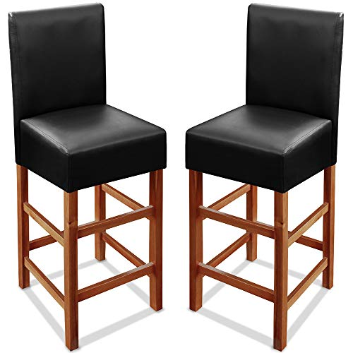 Deuba 2x Wooden Bar Stool Set Back Black Breakfast Counter Padded PU Leather Acacia Wood Classy Barstools Kitchen