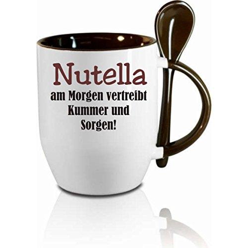 Creativ Deluxe Tasse m. Löffel Nutella am Morgen vertreibt Kummer und Sorgen Löffeltasse, Kaffeetasse mit Motiv,Bürotasse, Bedruckte Tasse mit Sprüchen oder Bildern -