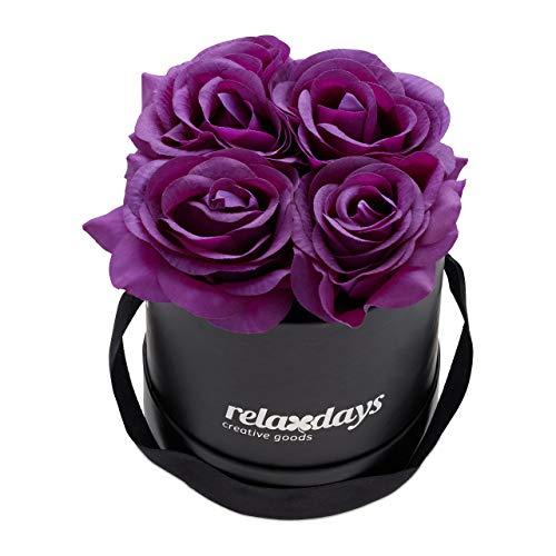 Relaxdays Rosenbox rund, 4 Rosen, stabile Flowerbox schwarz, 10 Jahre haltbar, Geschenkidee, dekorative Blumenbox, lila