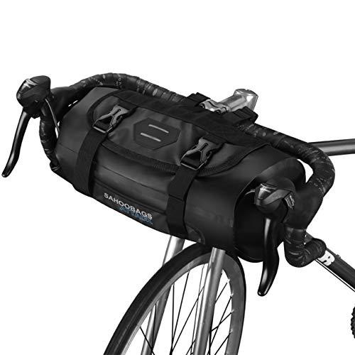 Roswheel 100% Imperméable Guidon Vélo 7L Sac de Guidon VTT Sac à Panier Sacoche à Vélo Roll-up D'ouverture de Polyester avec Une Interface de Lumière de vélos et Sport Serviette Froide (Noir)