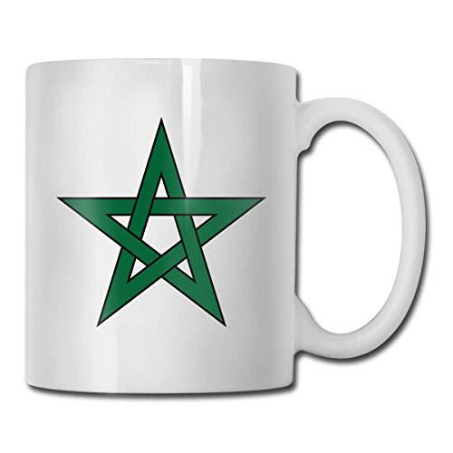 Taza con la bandera de Marruecos, taza de café para bebidas calientes, taza de gres, taza de café de cerámica, taza de té de 11 oz, regalo divertido, taza de té y café