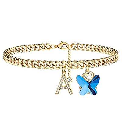 Ankle Bracelets for Women Initial Anklet, 14K Gold Plated Cuban Chain Anklets for Women Cute Butterfly Anklet Gold Anklets for Women Girls(A)
