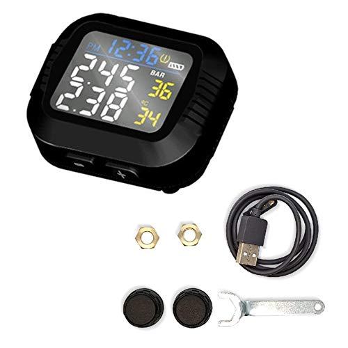 KKmoon TPMS Sistema de Monitoreo de Presión de Neumáticos Sistema de Control de Presión de Neumáticos con 2 Sensores inalámbrico Impermeable Detector de TPMS para Motocicleta Bicicleta Coche