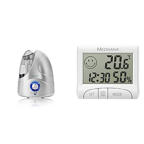 Medisana 60065 UHW - Humidificador Ultrasónico 4,2l, micro nebulización, máxima nebulización 230 ml/h, apagado automatico al acabarse deposito + HG 100 Higrómetro, Plástico, Blanco Metalizado