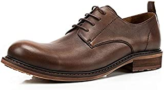 FYXKGLa Men's Genuine Leather Shoes Breathable Casual Single Shoes First Layer Leather British Big Head Shoes (Color : Coffee, Size : 42 EU)