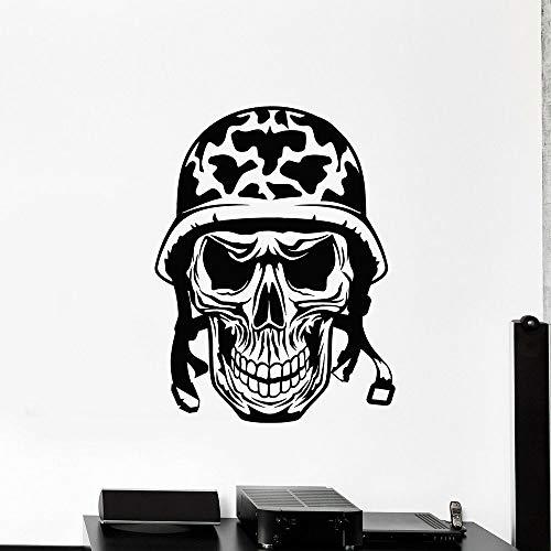 wZUN Schädel Wandtattoo Soldat Skelett Helm Vinyl Aufkleber Teen Schlafzimmer Spielzimmer Home Decor 50X66cm