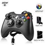 Manette Xbox 360 - Manette Xbox PC Joystick pour Xbox 360 et Windows 7/8/10 Connection USB - Design Ergonomique - Double Vibration...