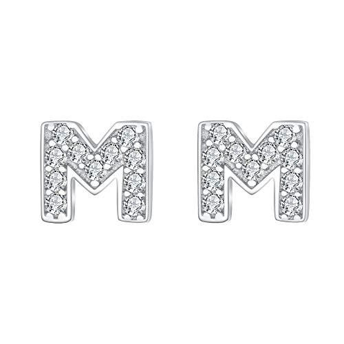 Ever Faith Mujer Plata de ley 925 Pendientes Clavo Zirconia Serie de alfabeto Letra M