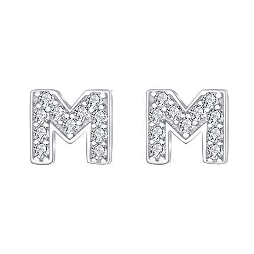 EVER FAITH Damen 925 Sterling Silber Zirkonia Anfangsbuchstabe A Ohrringe (MM)