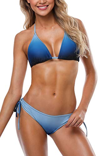 Anwell Damen Triangel Bikini Damen Push Up Bikini Push Up Bikini Set Bandeau Blau L