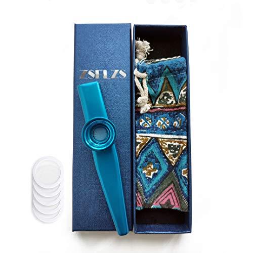 Metall Kazoo mit einer schönen Geschenkbox, Mini Musikinstrument für Kinder und Erwachsene (Blau)