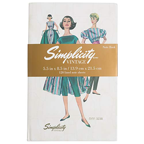 Simplicity Vintage Blouse 1950s Fashion Hardcover Notebook Journal for Women 120 Sheets 55 x 85