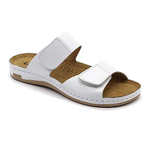 LEON 952 Sandalias Zuecos Zapatillas Zapatos de Cuero Mujer, Blanco, EU 39