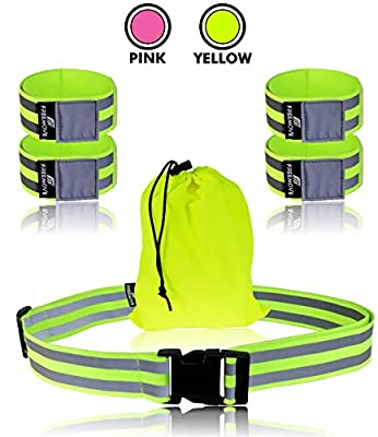FREEMOVE Reflective Belt and 4X Reflective Bands with Carry Bag - Reflective Running Gear with High Visibility for Day Or Night Cycling, Biking, Walking, MTB, Jogging - Accessory for Men, Women, Kids