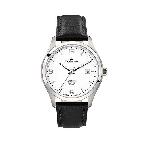DUGENA Reloj de hombre 4460911 Tresor, automático, esfera blanca, caja de acero inoxidable, cristal de zafiro, correa de piel, hebilla, 10 bar