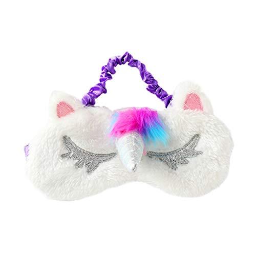 Lurrose 3D Grappige eenhoorn oogmasker om te slapen reis slaapmasker pluche oogstrip meisjes slaapbril voor kinderen vrouwen