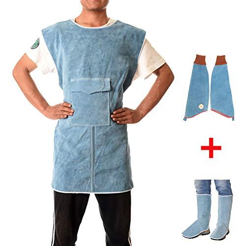 NXLWXN Tablier de Soudure Anti-Flamme Cuir de Vache Manteau Long Vêtements de Protection Habillement Soudeur Cuir supplémentaire Protection,Bleu,XXL