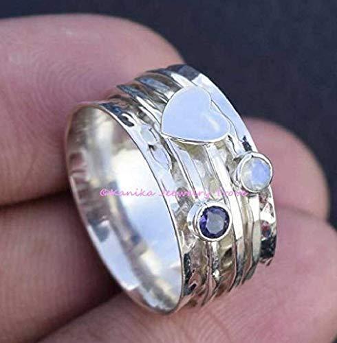 Bague en améthyste et pierre de lune, bague de créateur en argent sterling avec cœur, bague à large bande, bague de méditation martelée