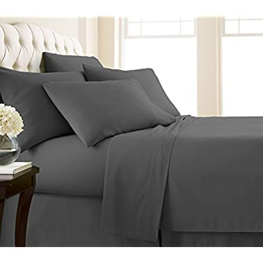 Southshore Fine Linens - Vilano Springs - 6 Piece - Extra Deep Pocket Sheet Set, QUEEN, Slate