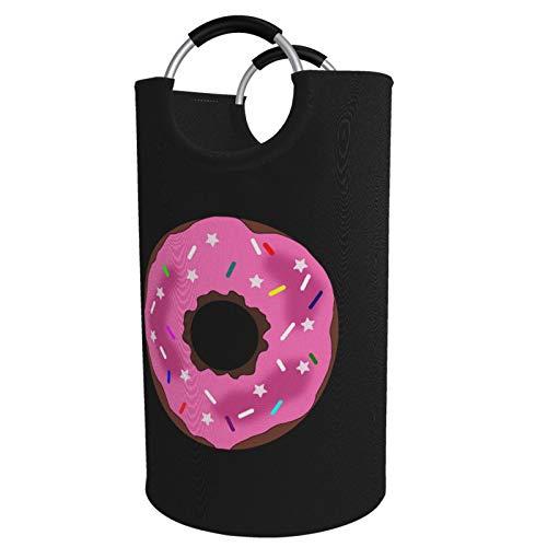 Sunmuchen Donut Pink Laundry Basket,Waterproof Large Laundry Hamper Storage Bin Organizer Basket for Clothes,Toys,Bedroom,Bathroom,with Aluminium Handles