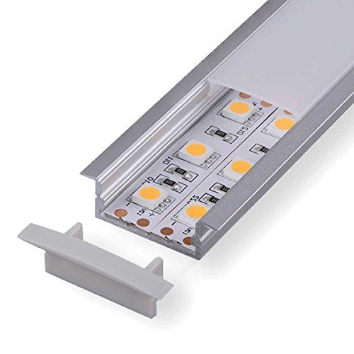 2m Aluprofil DURA (DU) 2 Meter Aluminium Profil-Leiste eloxiert für LED Streifen - Set inkl Abdeckung-Schiene transparent-klar mit Montage-Klammern und Endkappen (2 Meter transparent click)