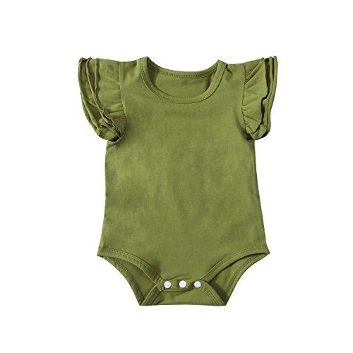 Infant Baby Girl Basic Ruffle Short Sleeve Cotton Romper Bodysuit Tops Clothes (Black, 3-9 Months)