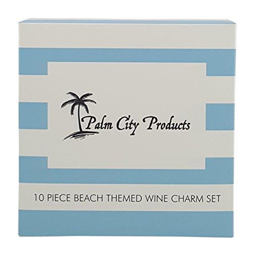10 Piece Beach Themed Wine Charm Set