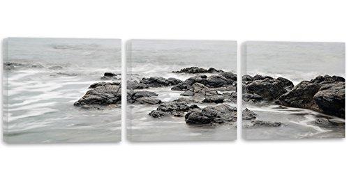 Feeby Frames, Cuadro en lienzo - 3 partes - Panorámico, Cuadro impresión, Cuadro decoración, Canvas 150x50 cm, AGUA, ROCAS, MAR, BLANCO Y NEGRO